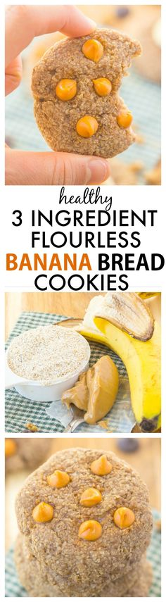 Three Ingredient Flourless Banana Bread Cookies- Soft chewy and SO delicious they have AMAZING texture and NO butter oil flour or added sugar! Super Cookies, Cookies Soft, Chip Cookies, Pan Arabe, Banana Bread Cookies, Lactose Free Diet, Peanut Butter Roll, Gluten Free Treats, Chocolate Chip Oatmeal