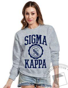 Sigma Kappa - Collegiate Crest Crewneck  by ABD BlockBuy! Just $14-16.50 each plus shipping until July 21 | Adam Block Design | Custom Greek Apparel & Sorority Clothes | www.adamblockdesign.com