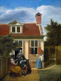 "bonjourtableau: "" A company in the courtyard behind a house, Pieter de Hooch, Rijksmuseum "" Johannes Vermeer, Delft, Canvas Home, Oil On Canvas, Canvas Art, House Canvas, Rembrandt, Caravaggio, Pieter De Hooch"