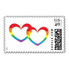 """""""Rainbow Double Hearts"""" Postage Stamps are beautiful for any wedding. May be personalized!"""
