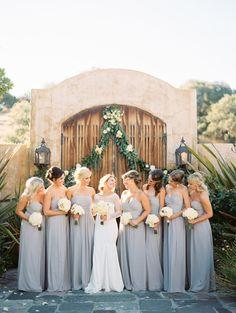 Dove gray bridesmaid gowns: http://www.stylemepretty.com/california-weddings/2015/10/30/elegant-nicklaus-club-wedding/ | Photography: Jen Rodriguez - http://www.jen-rodriguez.com/