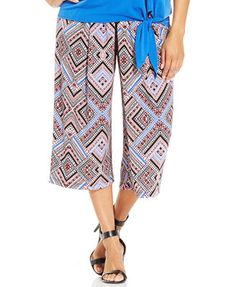6a746a88e23 NY Collection Plus Size Pleated Geo-Print Wide-Leg Gaucho Pants Plus Sizes  - Pants - Macy s