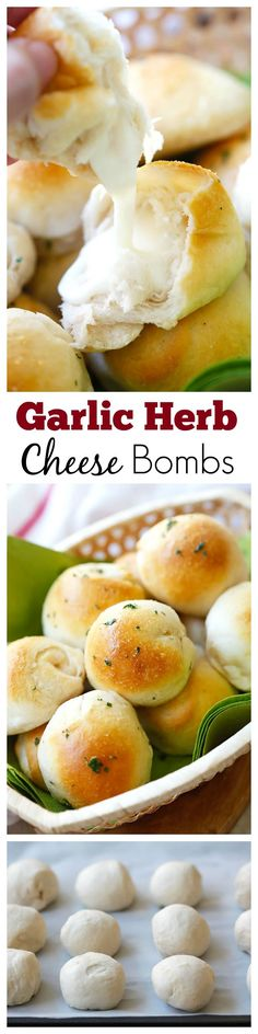 Garlic Herb Cheese Bombs – amazing cheese bomb biscuits loaded with Mozzarella cheese and topped with garlic herb butter. Easy recipe that takes 20 mins. It's so good, filled with delicious cheese and garlic herb. This is my dream dinner. Think Food, I Love Food, Good Food, Yummy Food, Cooking Recipes, Healthy Recipes, Easy Recipes, Cooking Tips, Skillet Recipes