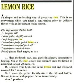 Gluten Free Recipes, Healthy Recipes, Rice Recipes, Side Dish Recipes, Side Dishes, Silver Palate Cookbook, Soup Beans, Lemon Rice, Canned Chicken