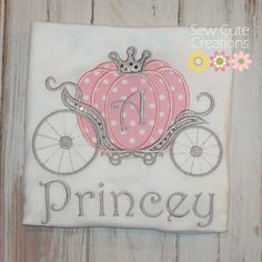 Personalized Princess Carriage Shirt Initial Girls Boutique Monogram short long sleeve custom embroidered