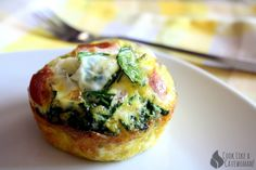 Grab-n-Go Egg Mufins by cooklikeacavewoman #Muffins #Egg #Spinach #Ham