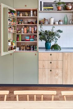 plywood kitchen larder with spice racks French Kitchen Decor, Home Decor Kitchen, Kitchen Interior, Home Kitchens, Kitchen Design, Interior Livingroom, Wooden Kitchens, Small Galley Kitchens, Home Interior