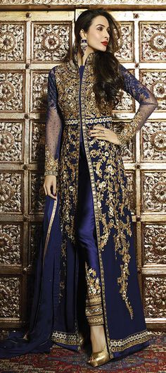 458325: Blue color family stitched Bollywood Salwar Kameez .
