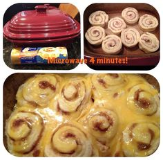 Simply put your favorite flavor of  Pillsbury Cinnamon Rolls in your Deep Covered Baker and microwave uncovered 4 minutes! Heat up the icing, pour over rolls  & serve. No more need for preheating and waiting on the oven!