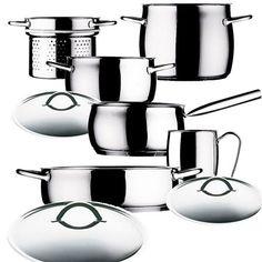 Batería de cocina de Mepra, 5 piezas y 4 tapas