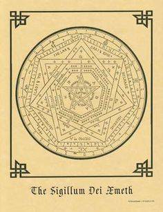 "Enochian Talisman, created by Dr. John Dee in the Elizabethan era. Used in Enochian and other High Ceremonial magickal systems. Size: 8 1/2"" x 11"""