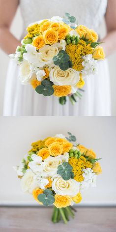 A bright cheery yellow and white theme for many seasons! Fresh lemons accent the centerpieces, adding a conversational element to your table. Sweet Root Village will work with flowers similar to those pictured which may include garden roses, spray roses, freesia, yarrow, and other similar blooms to create a cohesive floral design for your day. From Sweet Root Village via @Bloompop