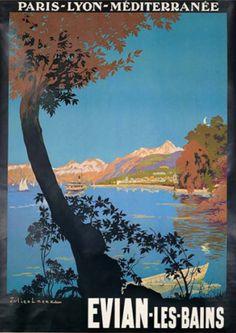 Travel poster by Julien Lacaze, ca. 1925, Évian-les-Bains, Haute-Savoie, south-eastern France.