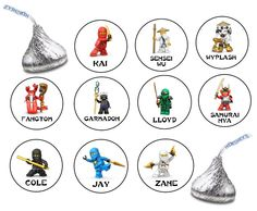 180 Assorted Hershey KISS Stickers Labels Lego Ninjago Birthday Party Favors