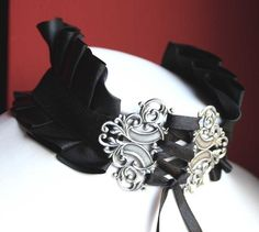 Black Gothic Choker Neck Victorian Corset Collar