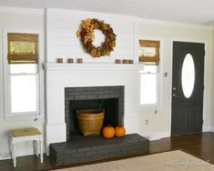 panel board  over brick wall fireplace! Clever!  My Kentucky Home Tour | Beneath My Heart