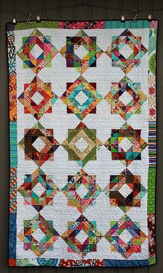 Scrapbuster Swap Round 3 quilt using scrappy depression blocks is finished! Bonnie Hunter, Nancy Zieman, Half Square Triangle Quilts, Square Quilt, Scrap Quilt Patterns, Block Patterns, Canvas Patterns, Sewing Patterns, Stained Glass Quilt
