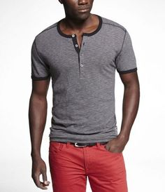 Henley tee with contrast trim/stitching