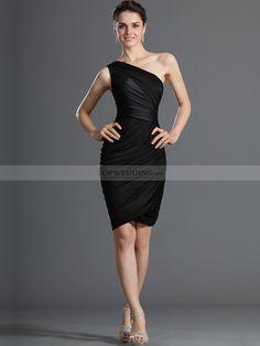 black+one+shoulder+dress   Modern One Shoulder Sheath Short Little Black Party Dress