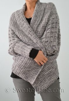 Two-Way Wrap Cardigan Pattern from SweaterBabe.com $7.50 Dolman sleeves, an open front, & the option to wear this cardigan upside-down w/ a shawl collar. Shaping starts w/ long rows of an easy-to-learn lace pttrn. STS are picked up along CO edge to knit dwn using a wide twisted rib ST pttrn. Front overlapping draped pcs are picked up & gently angled to create the unique shape. Ribbed cuffs & neckline are picked up & knit to finish. Seaming completes it all.
