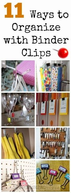 11 Ways to Organize with Binder Clips :: OrganizingMadeFun.com organizing ideas organizing tips #organized