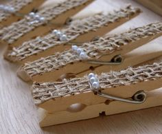 Burlap and Pearl Clothespins DIY Wedding by theepapergirl on Etsy, $6.40