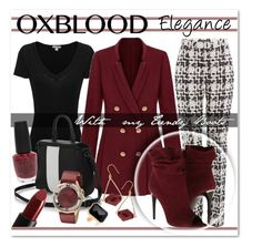 """""""L'Élégance en Rouge Bordeaux"""" by drinouchou ❤ liked on Polyvore featuring Giambattista Valli, James Perse, Burberry, NARS Cosmetics, OPI, Lola Rose, Marc by Marc Jacobs, Ringly and oxblood"""