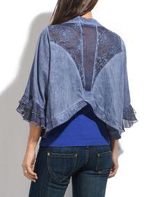 Cest Fait Pour Vous Blue Lace-Back Round-Hem Cardigan | zulily