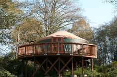 An elevated yurt