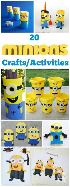 All things Minion. 20 Minion DIY crafts and activities for kids. things Minion with this fab Minion roundup. All things Minion. 20 Minion DIY crafts and activities for kids. things Minion with this fab Minion roundup. Minion Theme, Minion Birthday, Minion Party, Craft Activities For Kids, Projects For Kids, Diy For Kids, Craft Projects, Craft Ideas, Freetime Activities