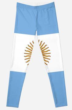 'Argentina Flag' Leggings by ArgosDesigns Argentina Flag, Skin Case, Long Hoodie, Laptop Sleeves, Chiffon Tops, Classic T Shirts, Mini Skirts, Leggings, Artists