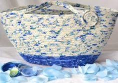 $50 #Blue #Moses #Basket #Handmade Coiled Fiber Basket #knitting #project #bag…