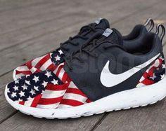 Free Shipping -- Nike Roshe Run Black Marble American Flag Pride V5 Edition Custom Men & Women