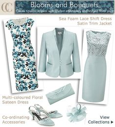 Lace Top Shift Dress and Jacket Pale Blue Wedding Outfits : Occasion Outfits