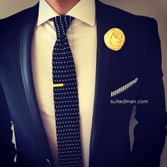 The Details: Tie - Black Dot Knit; Pocket Square - Gray Seersucker Stripes; Lapel Flower - Yellow Rose; Tie Clip - Mimosa. Available @ www.suitedman.com; Suit - Amint by @hugo_sandiego | by TheRealSuitedMan