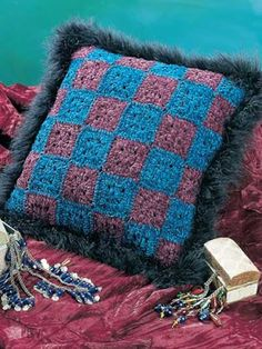"""Free pattern for """"Fluffy Granny Pillow""""...this is a cute idea to """"jazz up"""" a Granny Square Pillow!"""