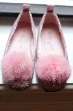 Vintage Pink Pom Pom Glitter Slippers
