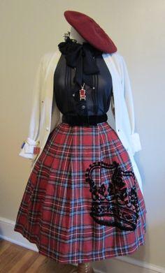 JetJ La Couronne Classique skirt coord - JM beret, necklace & bracelet, AP blouse, AatP cardigan   From SugaryPinkCupcake on tumblr.  Love this style
