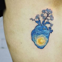 Van Gogh inspired heart tattoo