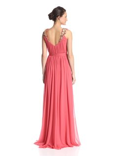 Marchesa Notte Women's Grecian Gown with Floral Necklace at MYHABIT