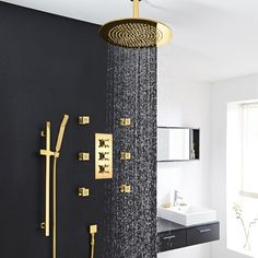 Bathroom Ideas Discover FontanaShowers Verona Solid Brass Ceiling Mounted Bathroom Volume Control Complete Shower System with Rough-in Valve Ceiling Shower Head, Brass Shower Head, Led Shower Head, Gold Shower, Shower Valve, Shower Faucet, Shower Heads, Rain Shower Bathroom, Master Shower