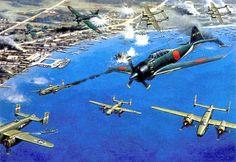 """La batalla de Rabaul, 2 de Noviembre de 1943. Unos 170 aviones japoneses embarcados en portaaviones se desplegaron en la zona, para llevar a cabo ataques contra los Aliados en la región. Una fuerza de 150 bombarderos B-25 Mitchell y cazas P-38 Lightning de la Quinta Fuerza Aérea atacó Rabaul desde Nueva Guinea. En la batalla, llamada luego """"Martes Sangriento"""" por los americanos, los japoneses derribaron nueve B-25 y diez P-38, contra 18 de los suyos. Más en www.elgrancapitan.org/foro"""