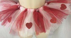 Girls Tutu Valentine's Day White Sparkle Red Pink Tulle Fits Sizes up to 3T #valentinesdaytut #redpinkwhitetulle