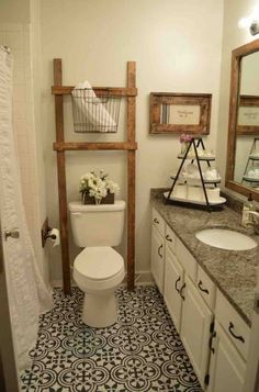 Related posts: 35 Marvelous Farmhouse Bathroom Storage And Organization Ideas 33 Best Farmhouse Master Bathroom Remodel Ideas 35 Luxury Farmhouse Bathroom Design and Decor Ideas You Will Go Crazy … Lovely Farmhouse Bathroom Decor and Design Ideas Bathroom Ladder, Painted Bathroom Floors, Bathroom Makeover, Linoleum Flooring, Amazing Bathrooms, Painting Bathroom, Farmhouse Master Bathroom, Bathroom Flooring, Bathroom Decor