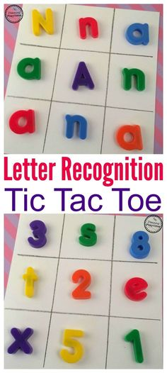 Looking for a fun Preschool Letter Recognition Game? Try out Alphabet Letter Tic Tac Toe. Just switch out the X's and O's for new letters and more fun ideas Preschool Literacy, Preschool Letters, Literacy Centers, Preschool Ideas, Early Literacy, Kindergarten Activities, Preschool Crafts, Toddler Activities, Letter Sound Games
