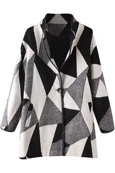 Shop Stand Collar Color-block Geometric Print Coat at ROMWE, discover more fashion styles online. Coat Sale, Woman Standing, Fashion Dresses, Men Sweater, Street Style, Clothes For Women, Collection, Color, Button