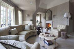 u shaped sectional sofa Living Room Traditional with arced sofa armchair carpet coffee table Fireplace