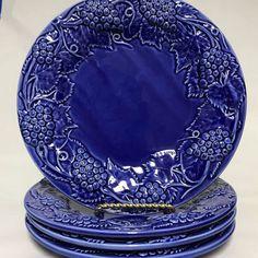 Bordallo Pinheiro Green Fruit Luncheon Dessert Plates Set Of 4 Green Fruit, Plate Sets, Pottery Art, Cobalt Blue, Cups, Plates, Tableware, Desserts, Ebay