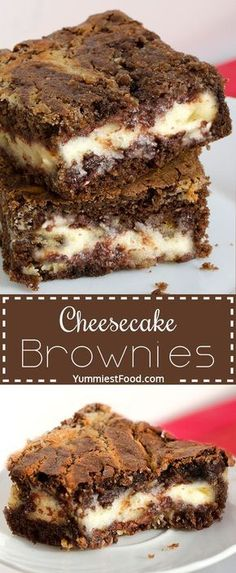 Perfect combination of cheese a… Cheesecake Brownies – amazing chocolate dessert. Perfect combination of cheese and chocolate. Brownie Desserts, Brownie Recipes, Cheesecake Recipes, Easy Desserts, Cookie Recipes, Delicious Desserts, Yummy Food, Brownie Cheesecake, Cheese Cake Brownies Recipe