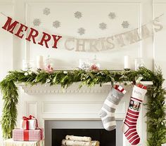 Merry Christmas Garland... could make out of cardboard letters from Hobby Lobby...